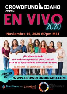 Crowdfund Idaho En Vivo 2020, financiación colectiva de Idaho, Centro de Negocios de Mujeres de Idaho, Crowdfund Better, Crowdfund Idaho, crowdfunding en español