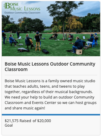 Boise Music Lessons, crowdfunding campaign, Crowdfund Idaho, Idaho small business, crowdfunding in Idaho, successful crowdfunding campaign, outdoor music classroom, Boise event space, Zions Bank Business Resource Center